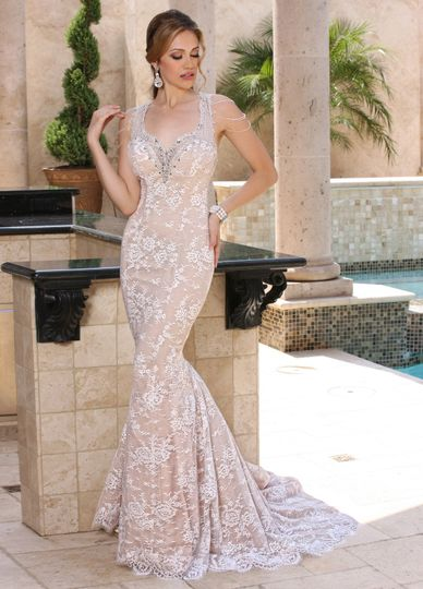 e25cc06c011d DaVinci Bridal Style    50369 Elegant v neckline is encrusted with direct  beading that extends