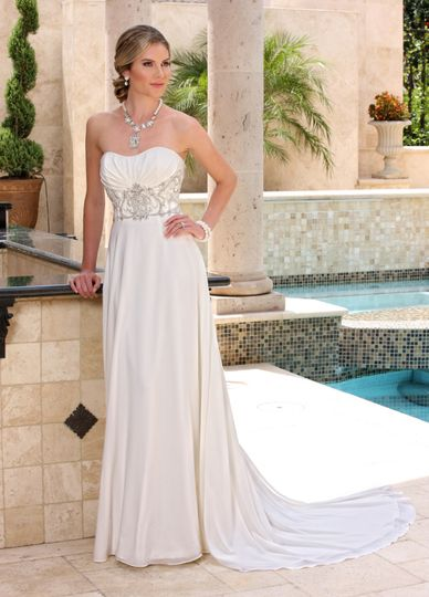 b890081f9f DaVinci Bridal Style    50365 Chiffon strapless gown has lightly pleated  bust accented with beading