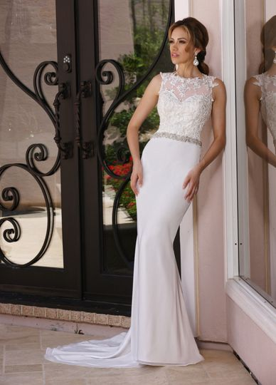 DaVinci Bridal Style #: 50364 Sheer illusion bateau neckline has lace scattered throughout the...