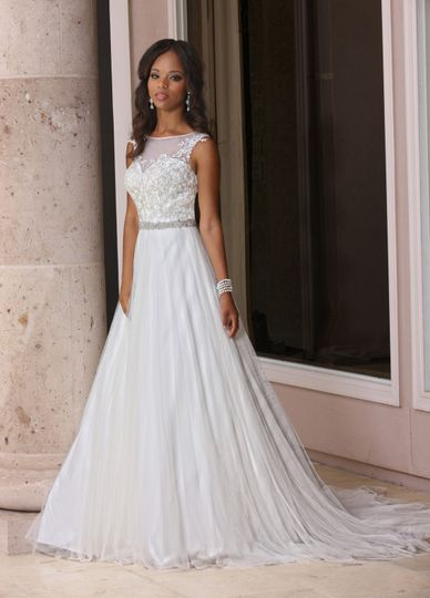 50ce87f2c12 DaVinci Bridal Style    50363 Tulle sheer bateau neckline with embroidered  lace covers the bodice