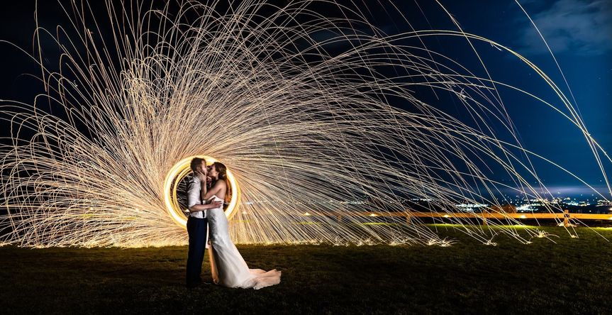 Night sky shot of newlyweds
