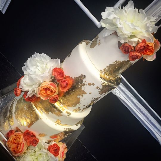 Wedding cake with gold coating