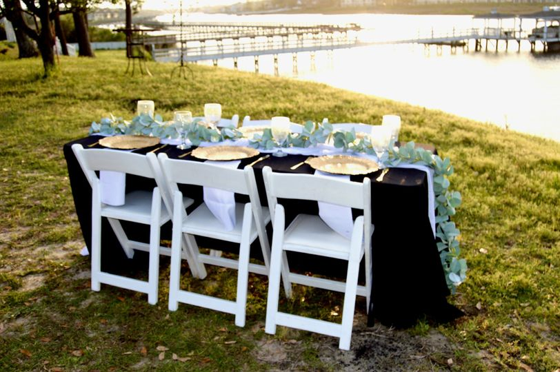 Banquet table and garden chairs
