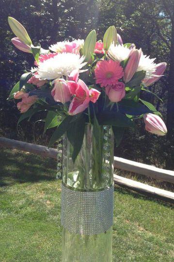 pink tall centerpiece