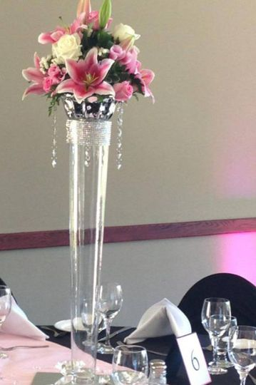 tall centerpiece with lily