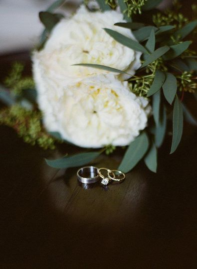 Bouquet and wedding bands