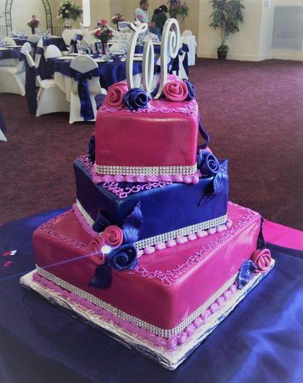 Pink and purple fondant