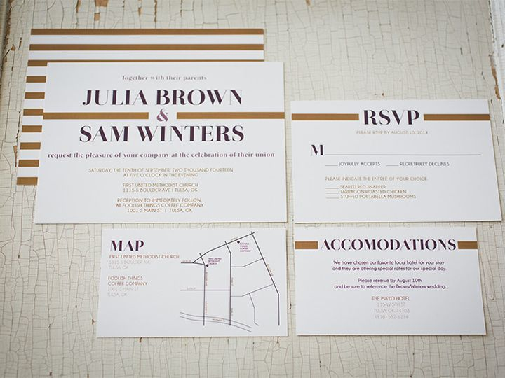 Tmx 1444758546867 Goldstripes2 Tulsa wedding invitation