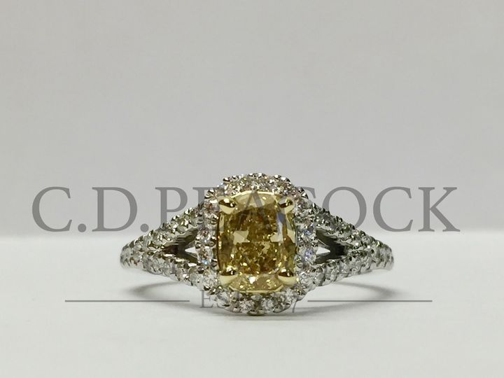 Tmx 1479336853831 Erinyellowdiahalo1r1 Copy Oak Brook wedding jewelry