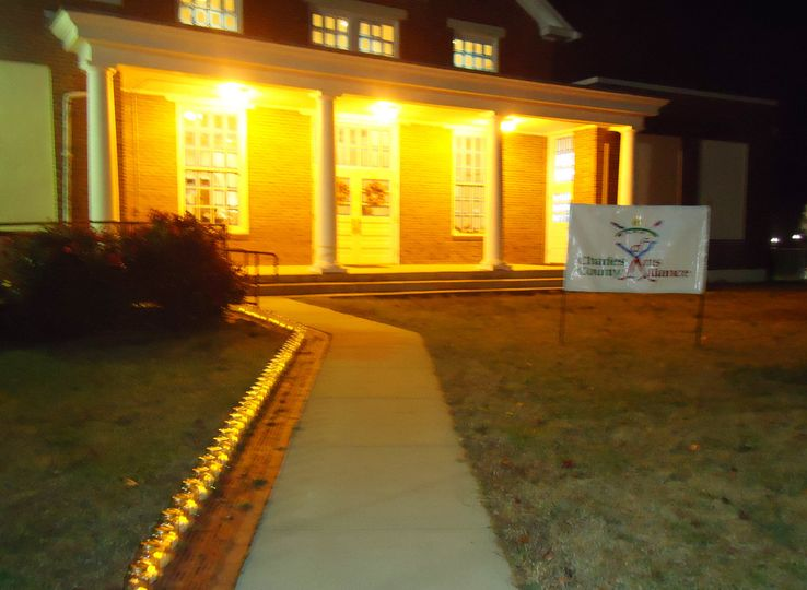 Historic Old Waldorf School Entry | Walkway lined with luminaries for an evening event