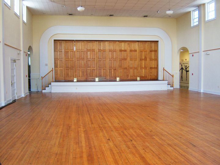 Historic Old Waldorf School Auditorium | Looking toward the stage with stage doors closed