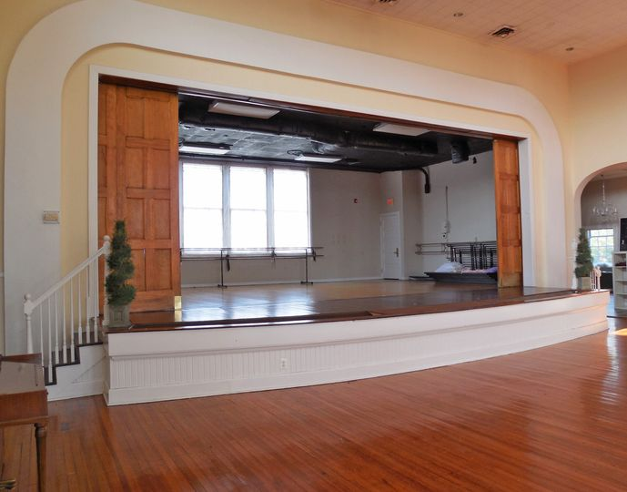 Historic Old Waldorf School Auditorium | Stage with stage doors open