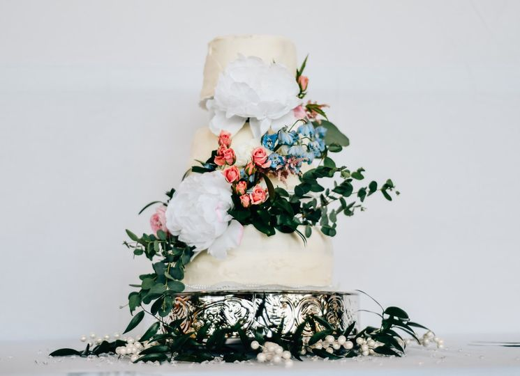 Wedding Cake w/ Eucalyptus