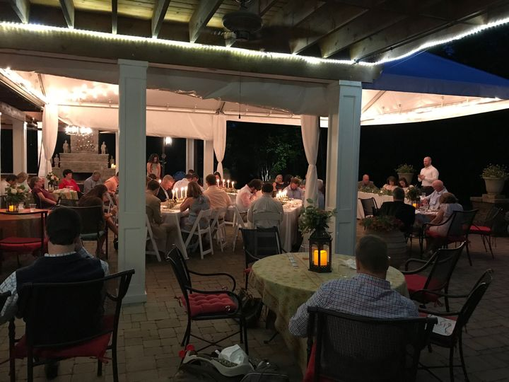 Rehearsal Dinner on the patio under the tent