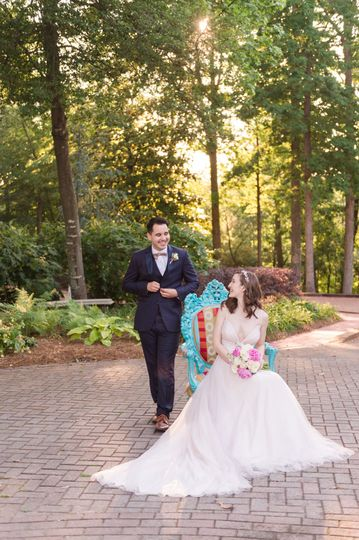 We love this candid photo capturing a sweet moment between these two and our famous teal blue...