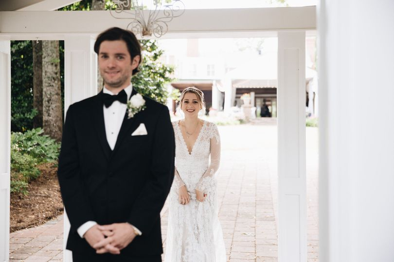 First looks are so fun!  Location: Gazebo By M. Fehr Photography