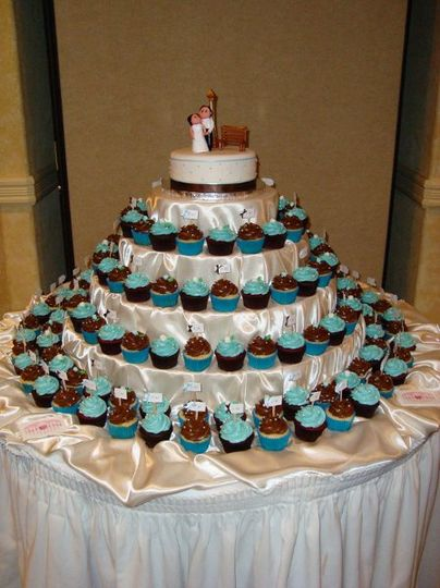 "Wedding - 150 cupcakes with 8"" cake on fabric draped display stand"