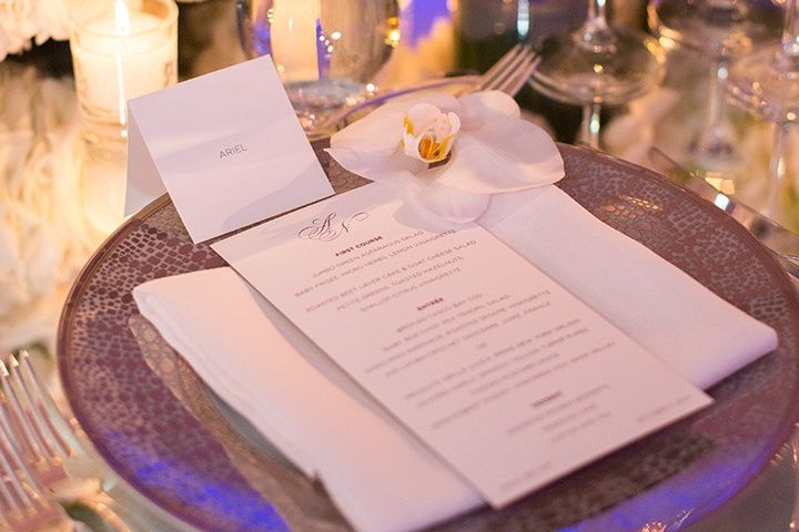 Foil Stamped menu + Place Card