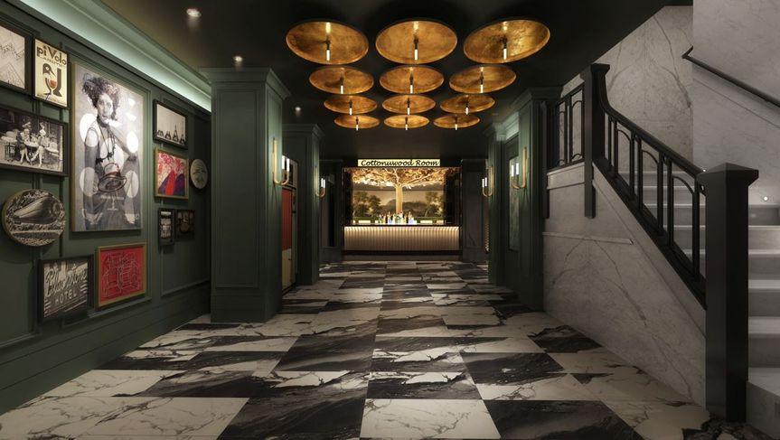 Monochrome marbled floor