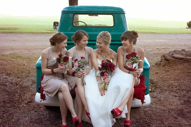 Bridal party on the truck