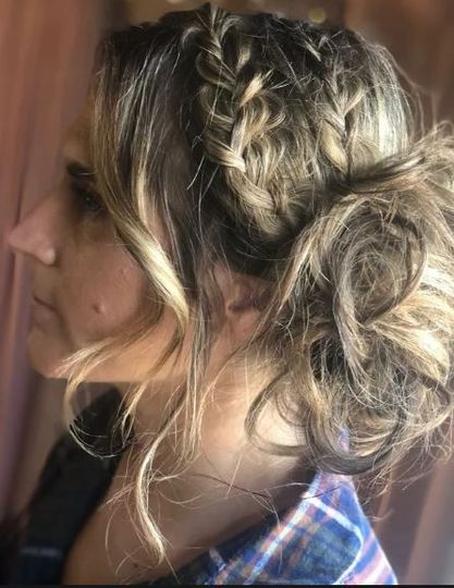 Tousled updo with side braid