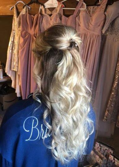 Curly half-updo