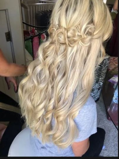 Curls with a twisted half-updo
