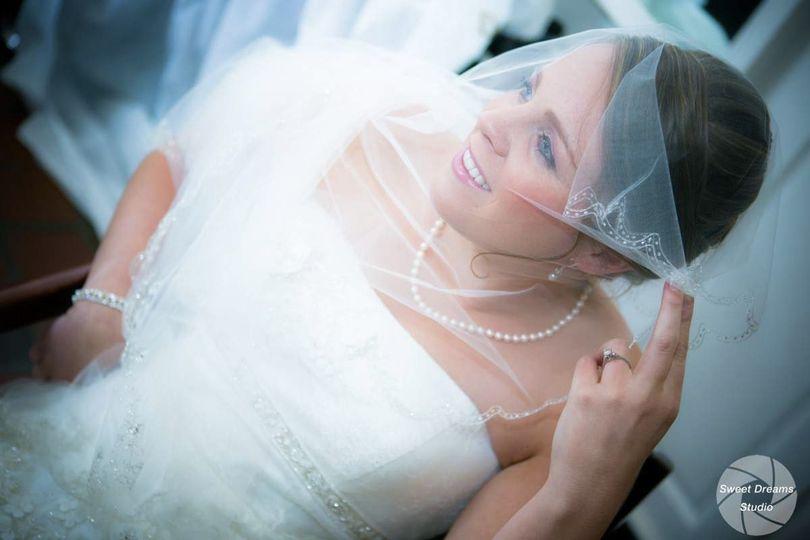 Bride fixing veil