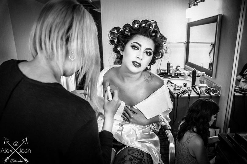 Classic Pinup Bridal Prep Photo by Los Angeles Wedding Photographer Alex Diaz and Josh Ponder
