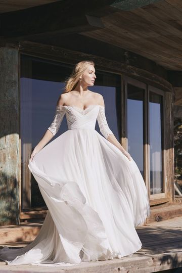 Wtoo off-the-shoulder gown