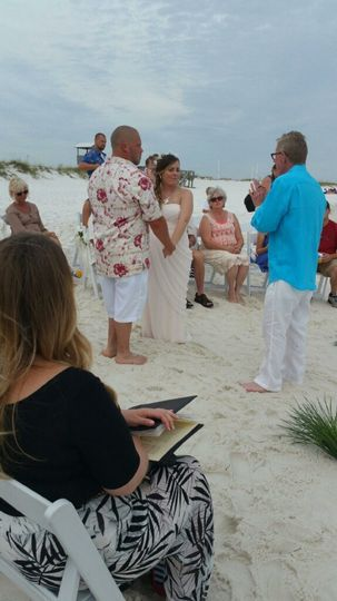 The ceremony at the beach