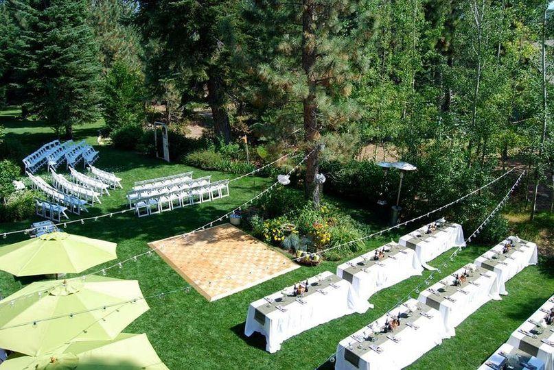 Full backyards view  Location: Backyard wedding in South Lake Tahoe, CA Theme: Rustic Colors: Green,...