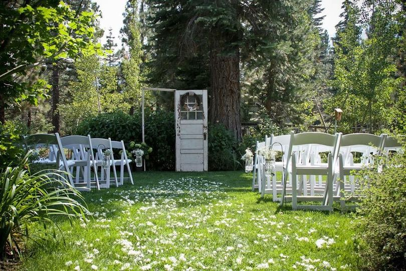 The main aisle way for the bride. (ceremony site) Location: Backyard wedding in South Lake Tahoe,...