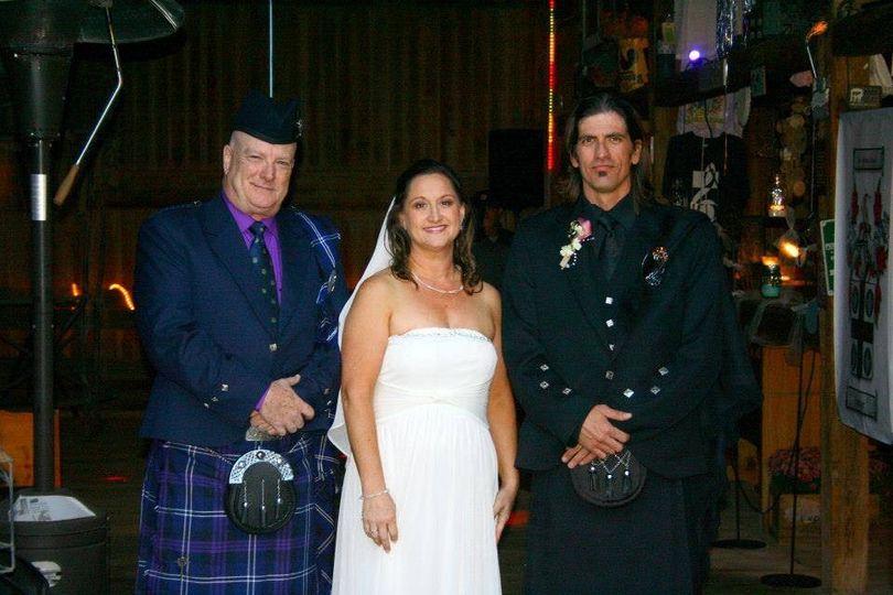 Scottish wedding: kilt, argyle jacket, fly plaid for the dressy semi-formal look.  Yes, I have...