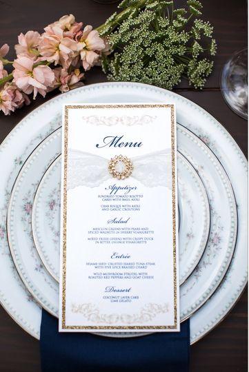 Glamour & lace menu