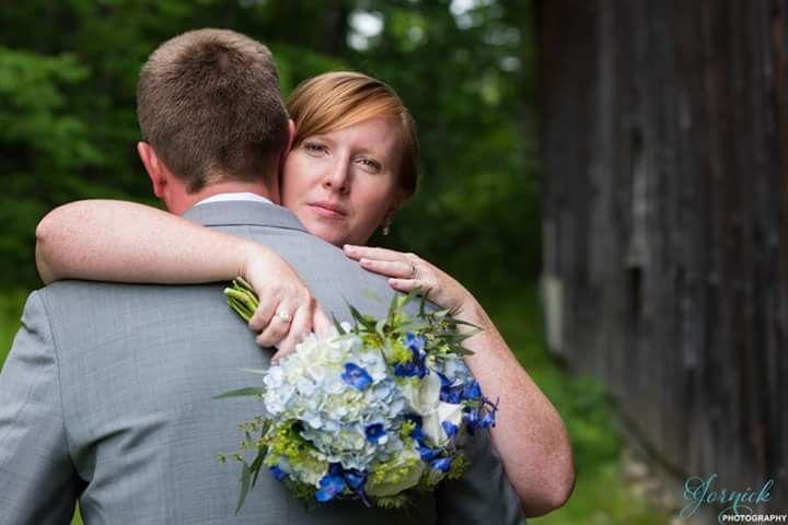 Bride embracing her groom