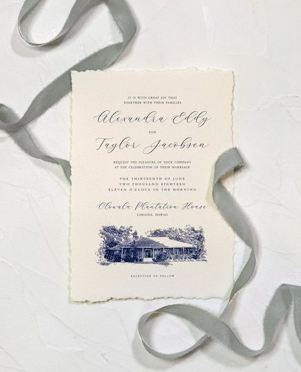 Hand-torn Wedding Invite