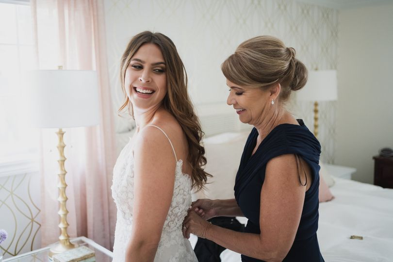 Mother of bride and bride