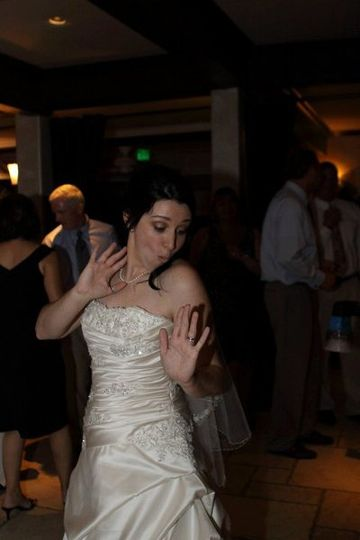 Do you think this bride is having fun?