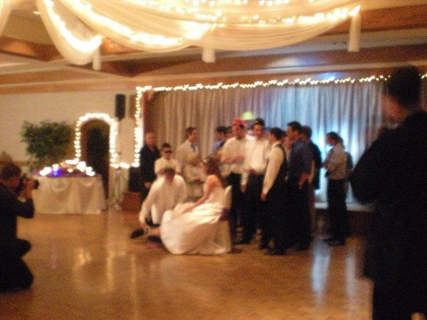 """Garter ceremony.  Their song choice:  """"Cherry Pie"""" by Warrant"""
