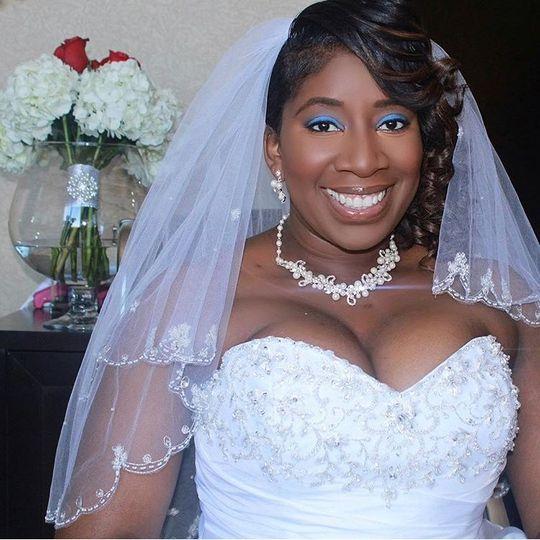 Bride all smiles