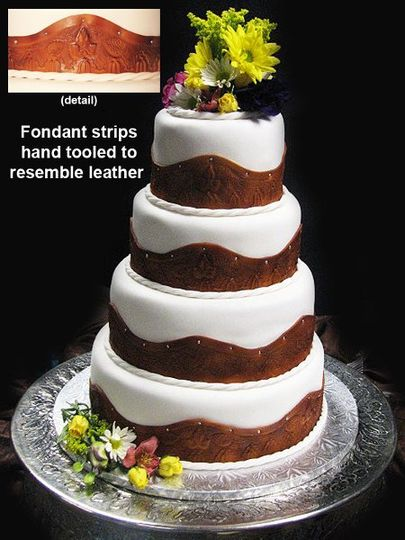 White wedding cake with Brown design