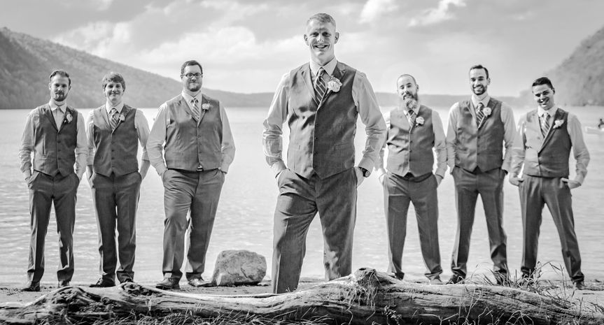 Groomsmen on Lake Willoughby