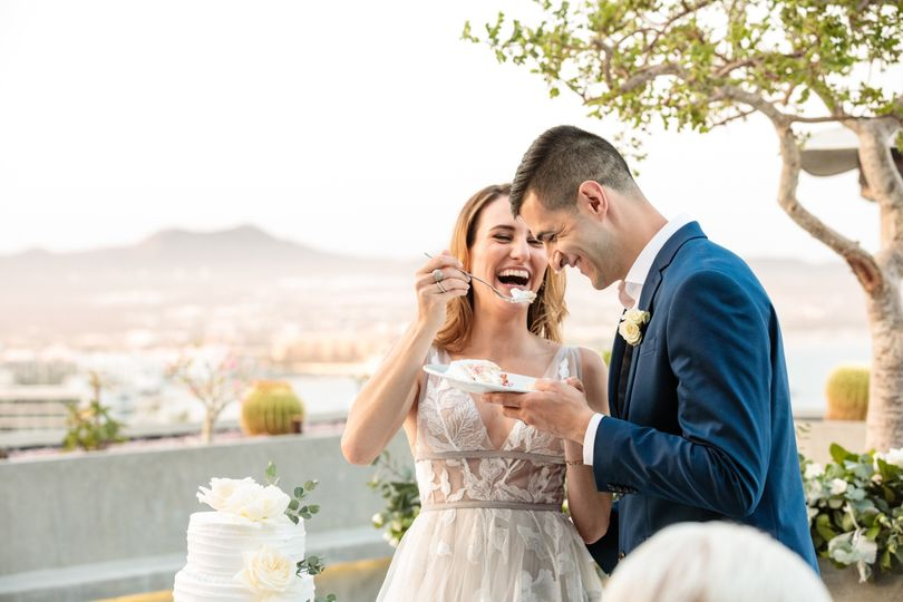 Cake Cutting at Cabo Wedding