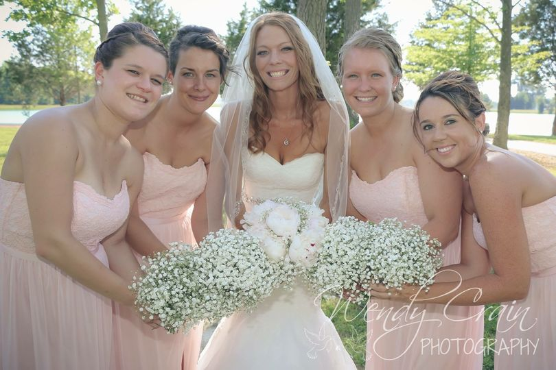 BRIDE'S HAND HELD BOUQUET OF PEONIES WITH A TOUCH OF BABY'S BREATH. BRIDESMAID BOUQUETS ALL A ROUND...