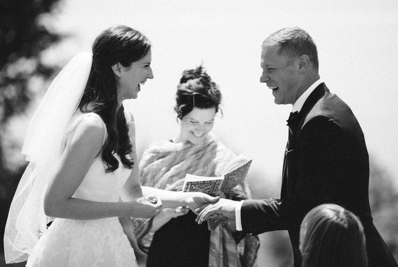 Smiles from the groom and bride