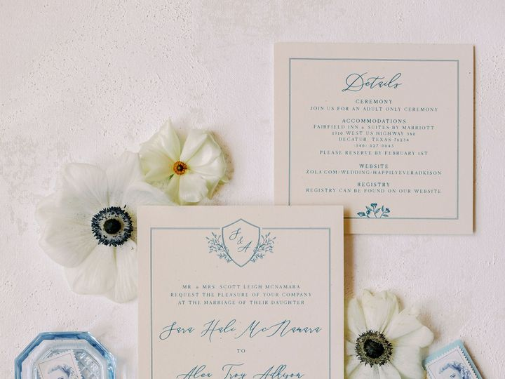 Tmx Belly Band Blue Wedding Stationery Custom Invitations 21 3 4 Kelsey Lanae Photography 29 51 623329 161661463267362 Burleson, Texas wedding invitation