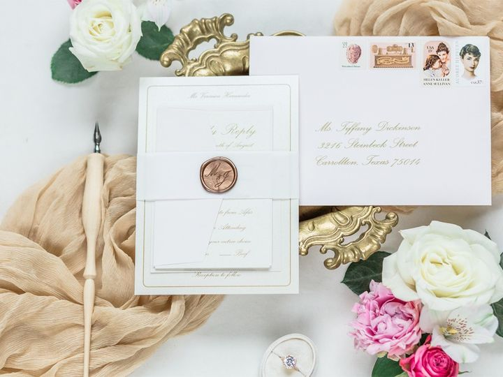 Tmx Classicgoldpinkscriptwaxseal 51 623329 1570911640 Burleson, Texas wedding invitation