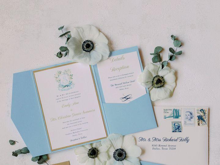 Tmx Custom Crest Blue Wedding Stationery Pocket Invitations 21 3 4 Kelsey Lanae Photography 1 51 623329 161661463263256 Burleson, Texas wedding invitation