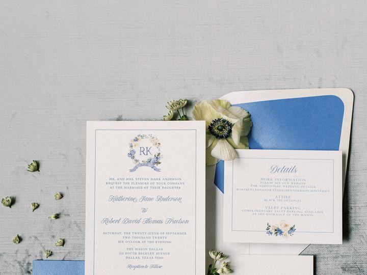 Tmx Floralmonogramwreathwithblueletterpress 51 623329 161782515943025 Burleson, Texas wedding invitation